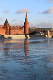 river landscape with the Moscow Kremlin