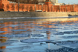 moscow river with ice movement at the Kremlin wall