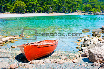 a beautiful bay and the old boat