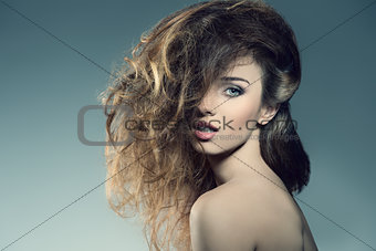 woman with bushy  hair