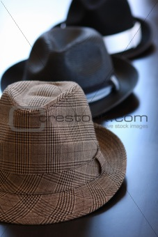 Three Stylish Hats On Tabke
