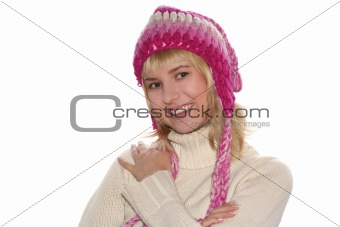 Smiling blond girl in cap
