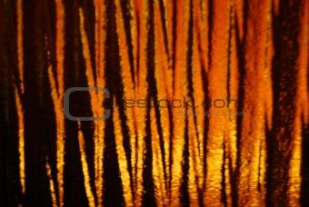 Wavy Glass With Orange Light Through