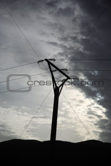 Powerlines silhouetted