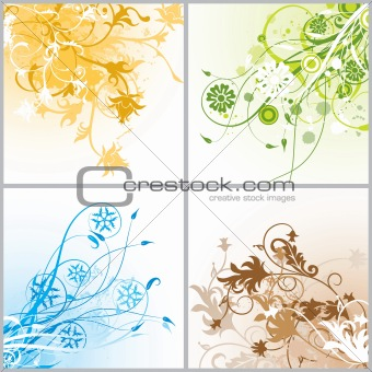 Grunge floral backgrounds, vector