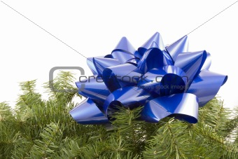 Blue bow and garland