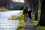 Couple walking near Grand Canal in Dublin