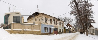 Old town houses at winter