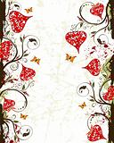 Valentines Day grunge background with hearts and florals