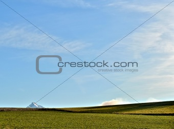 Meadow with mountain peak