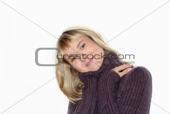blond girl isolated on white background