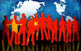 china flag style of people silhouettes