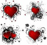 Valentines Day background with hearts and flower