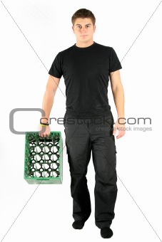 man in black with beer plastic box