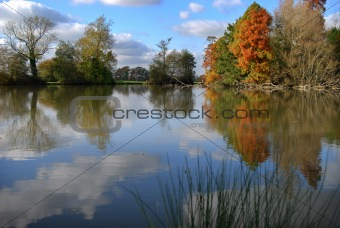 Autumn lake scene