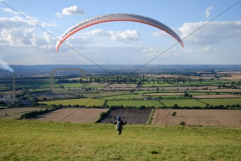 Para glider taking off