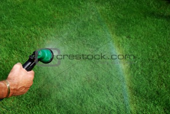 Watering, creating a raindow