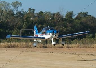 Small airplane landing