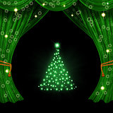 Christmas open curtain