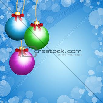 Christmas balls on blue background
