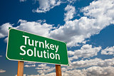 Turnkey Solution Green Road Sign Over Sky