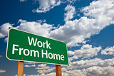 Work From Home Green Road Sign and Clouds