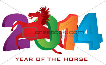 2014 Horse Leaping Over Numerals Isolated