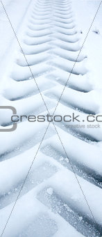 Tire track in snow