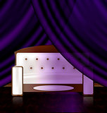 white sofa in the violet room