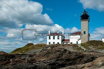 Beavertail Lighthouse Atop Rocky Coastline