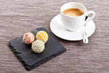 sweet delicious truffle pralines chocolate and hot espresso coffee