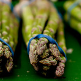 fresh seasonal asparagus on market