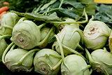 fresh green kohlrabi cabbage on market