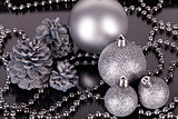 christmas decoration in silver on black