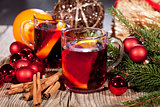 hot tasty spicy mulled red wine with orange and cinnamon christmas