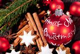fresh tasty christmas cinnamon cookies and sticks decoration