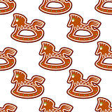 Gingerbread brown horses seamless pattern
