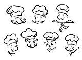Cartoon portraits of  funny chefs