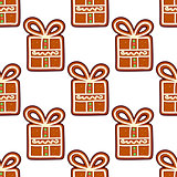 Gingerbread presents seamless pattern