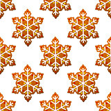 Gingerbread snowflakes seamless pattern