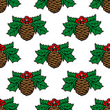 Fir cone seamless pattern