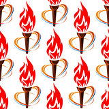 Seamless pattern with torch fire