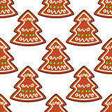 Gingerbread new year tree seamless pattern