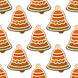 Christmas gingerbread bell seamless background