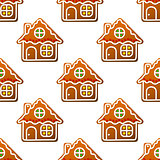 Gingerbread houses and homes seamless pattern