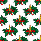 Christmas candles seamless pattern