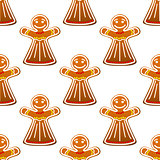 Gingerbread cookie people seamless pattern