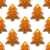 New year gingerbread tree seamless pattern