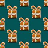 Gift gingerbread seamless pattern