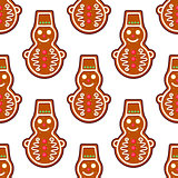 Gingerbread snowman seamless pattern